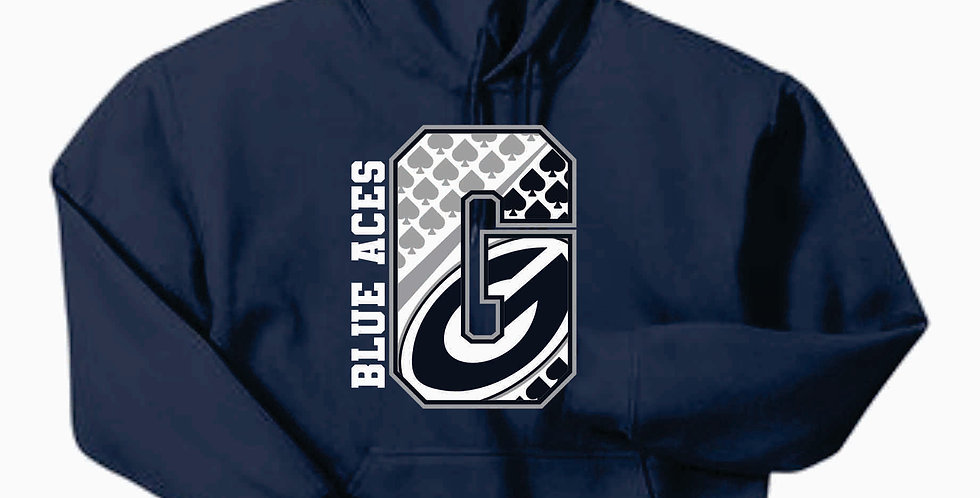 "Blue Aces Navy ""G"" Gildan Cotton Hoody"