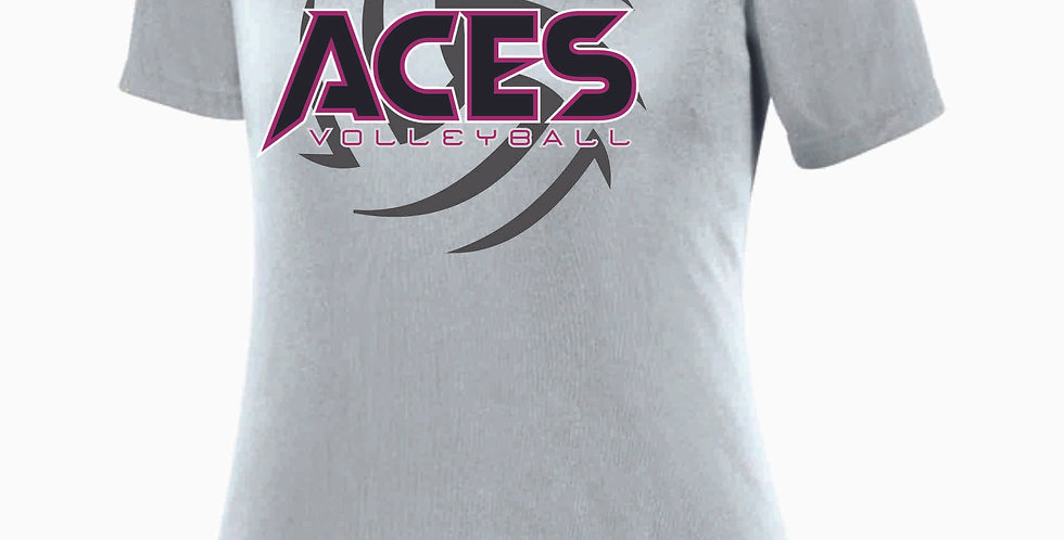 Aces Volleyball Grey Women's V Neck Poly Tee