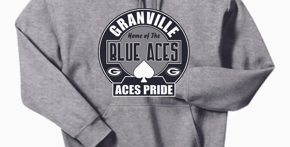 Granville Blue Aces Grey Cotton Hoody