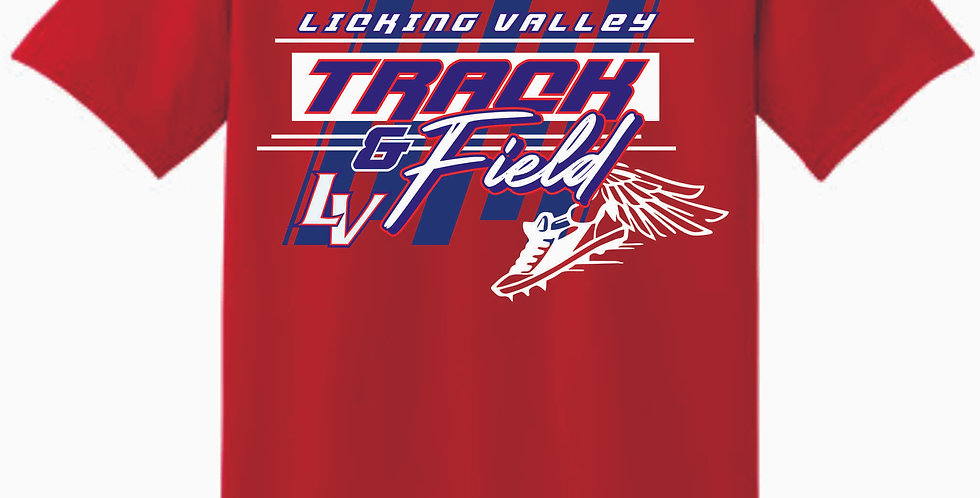 Licking Valley Track and Field Red Cotton T Shirt