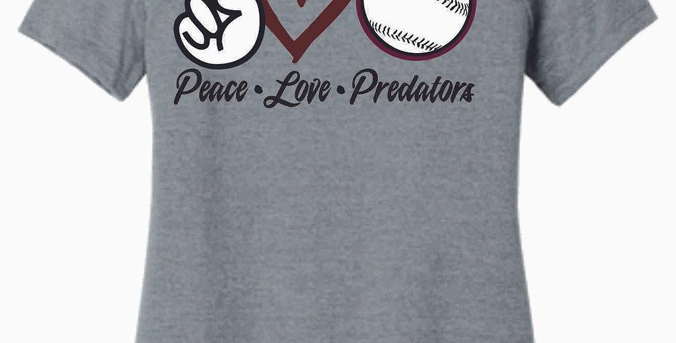 Predators Grey Peace Love Ladies T Shirt