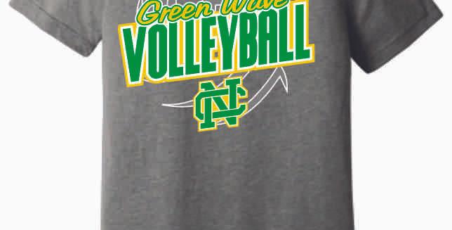 NC Volleyball Grey Sript Soft T