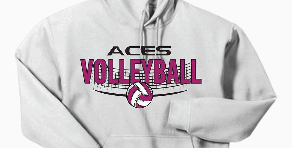 Aces Volleyball Gildan Cotton White Hoody