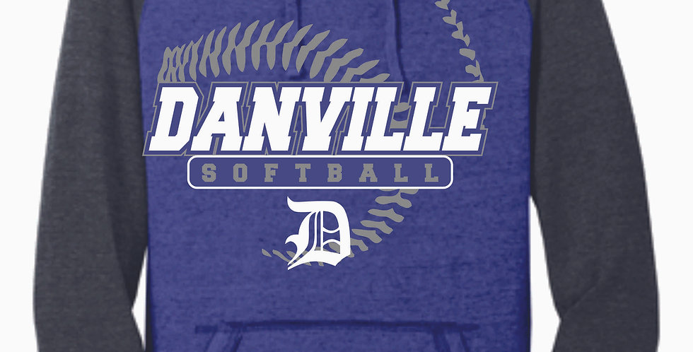 Danville Softball Two Toned Royal Heather Vintage Hood