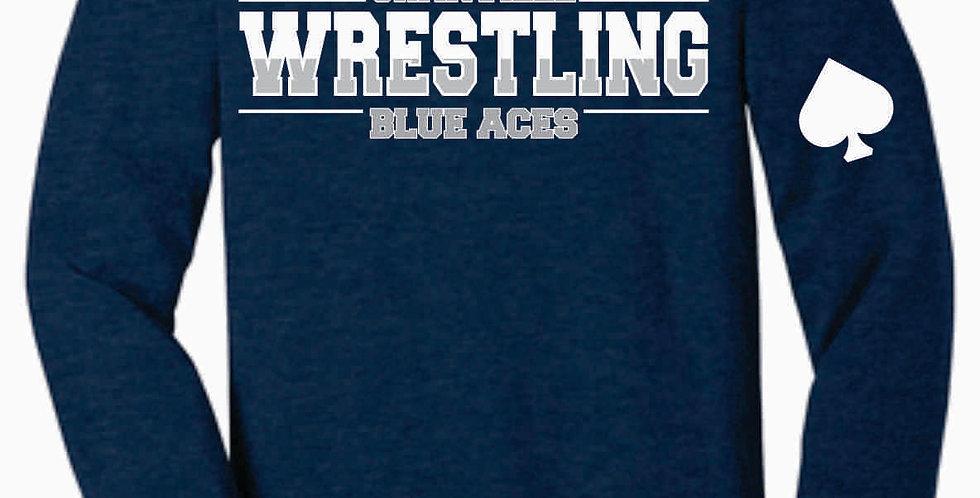 Granville Wrestling Soft Navy Longsleeve T shirt