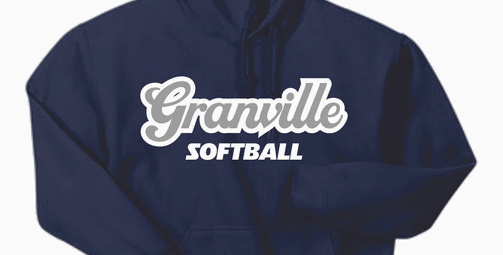 Granville Softball Navy Script Cotton Hoody