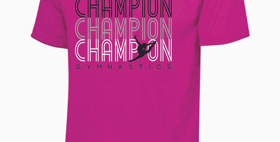 Champion Gymnastics Power Pink Dri Fit S/S