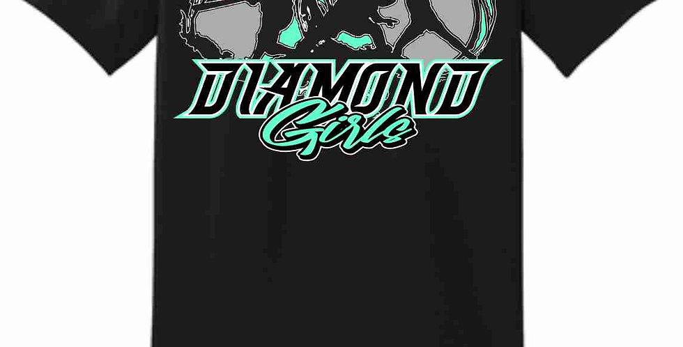 Diamond Girls Black Cotton T shirt