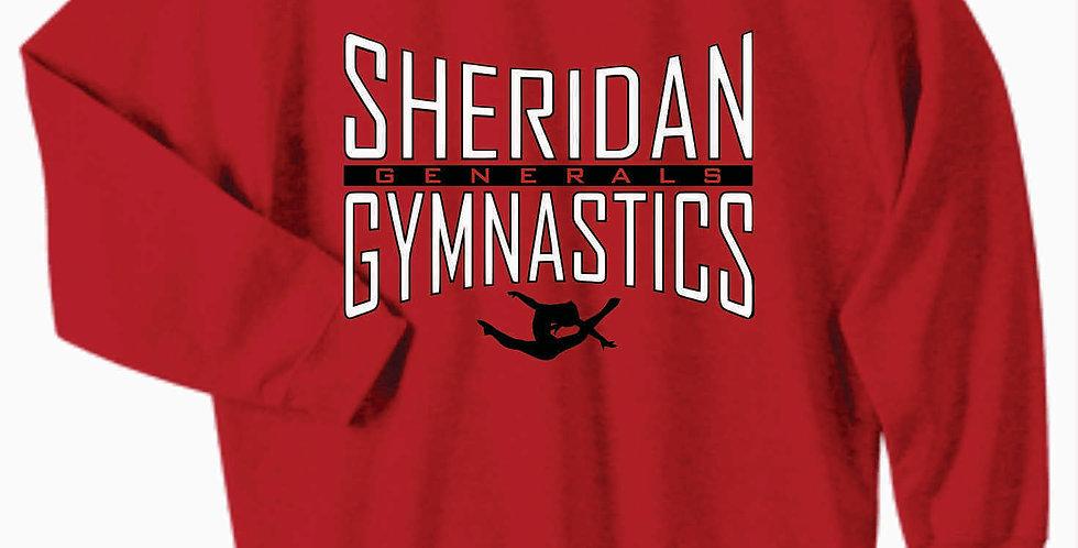 Sheridan Gymnastics Gildan Cotton Red Crewneck