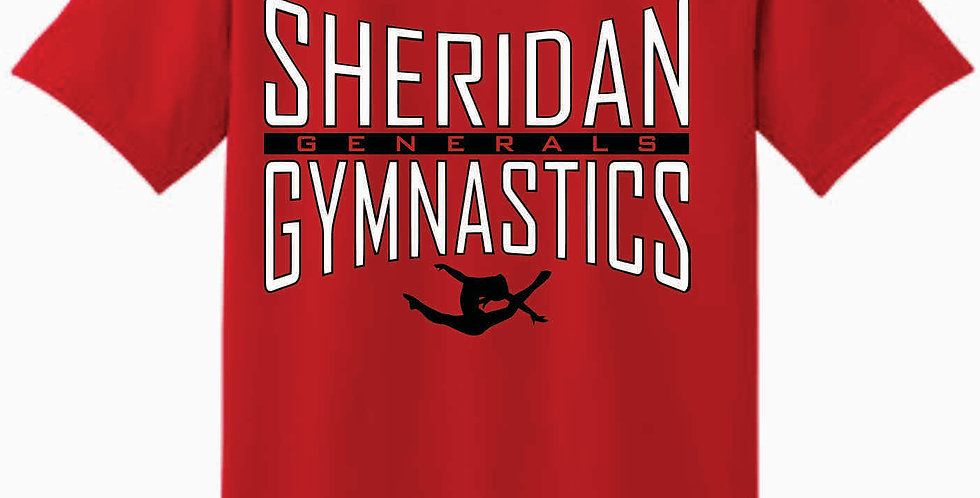Sheridan Gymnastics Gildan Cotton Red T Shirt
