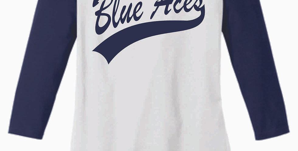 Blue Aces Navy Ladies 3/4 Length Tee