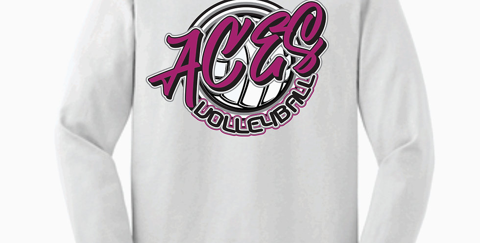 Aces Volleyball Gildan Script White Cotton Longsleev