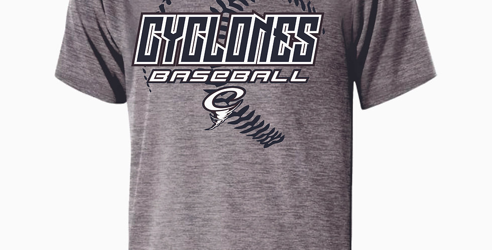 Cyclones Grey Dri Fit Stitches Shortsleeve
