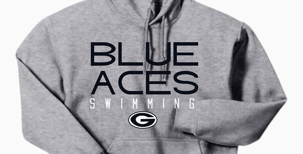 Blue Aces Grey Gildan Cotton Hoody