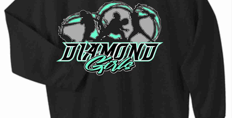 Diamond Girls Black Cotton Crewneck