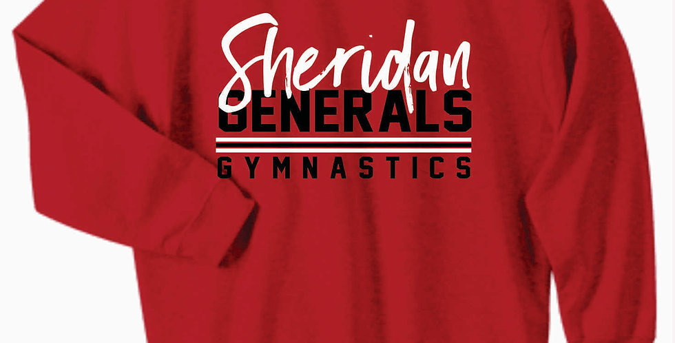 Sheridan Gymnastics Gildan Cotton Red Crewneck