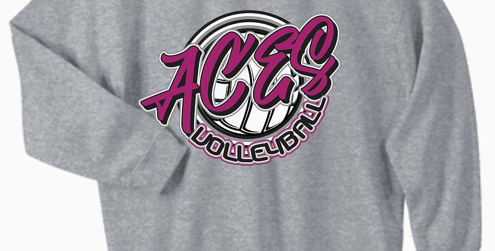 Aces Volleyball Gildan Grey Script Cotton Crew