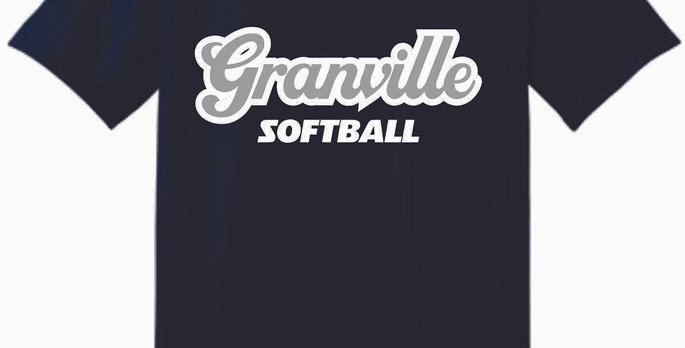 Granville Softball Navy Script Cotton T Shirt