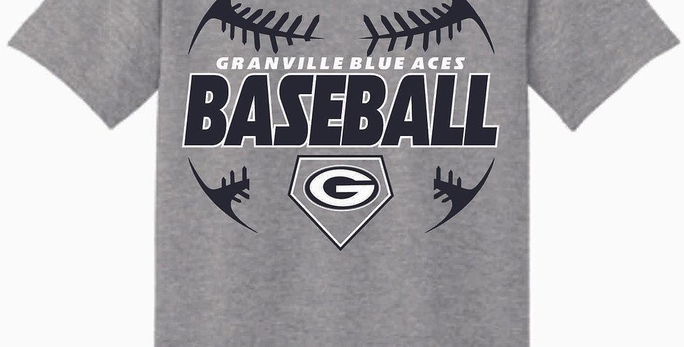 Granville Baseball Grey Cotton T Shirt