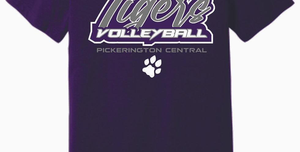 Tiger Volleyball Purple Sript Soft T