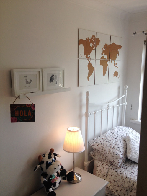 Cork world map on wooden canvas wall art white gumiabroncs Choice Image