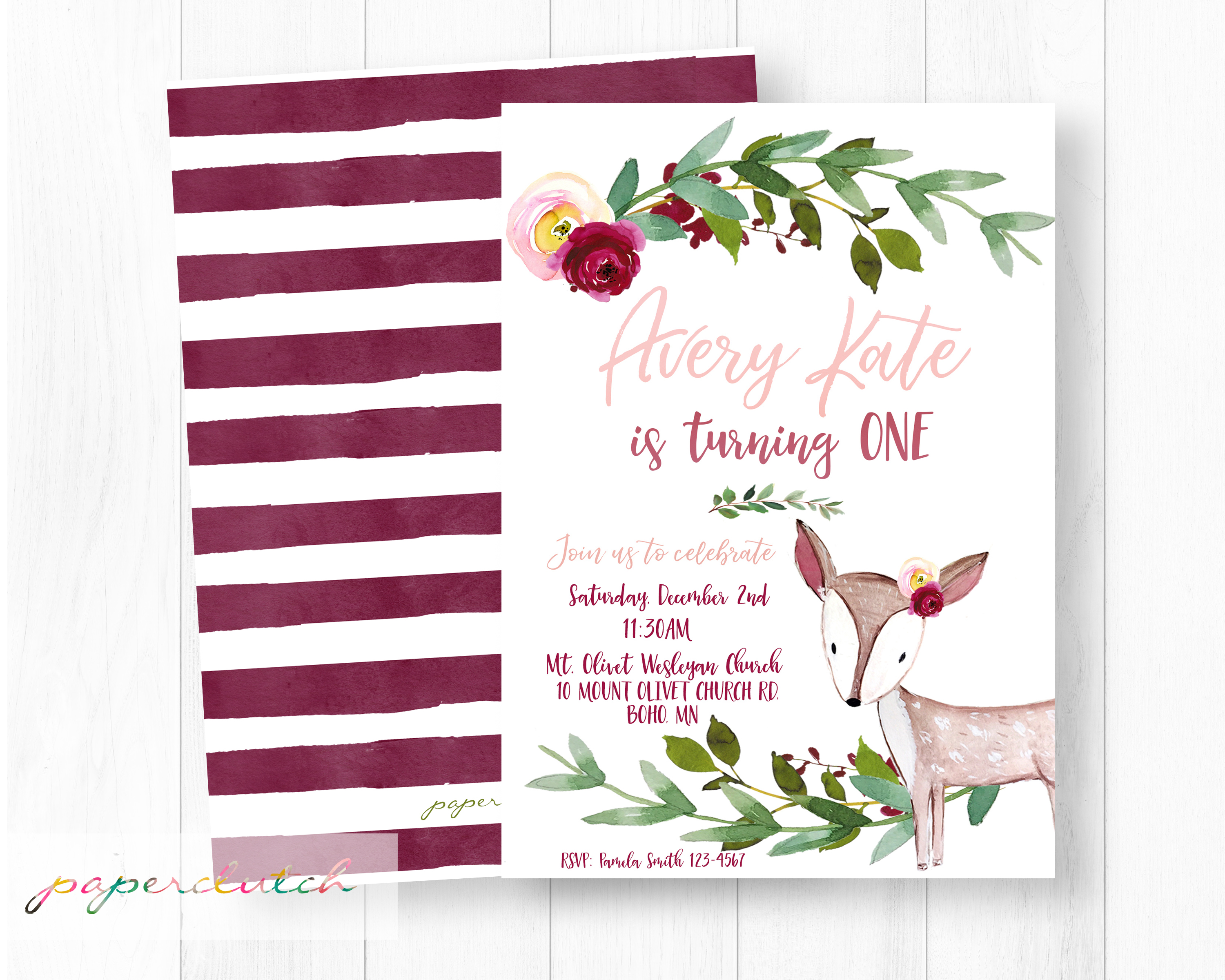 Boho Deer Birthday Invitation