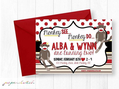 Twin Girls Sock Monkey Birthday Party Invitation