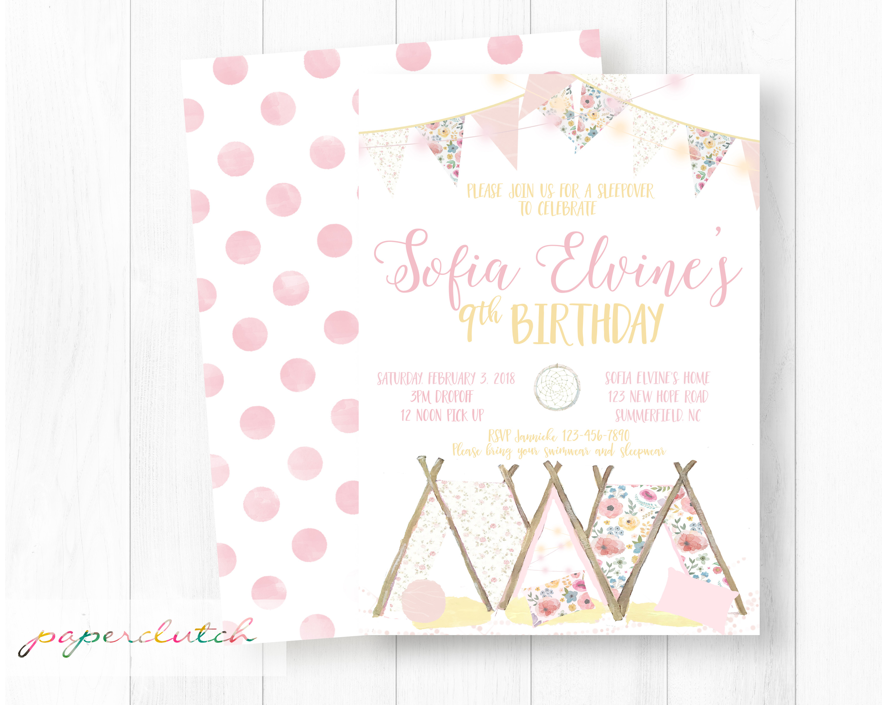Teepee Slumber Party Invitation