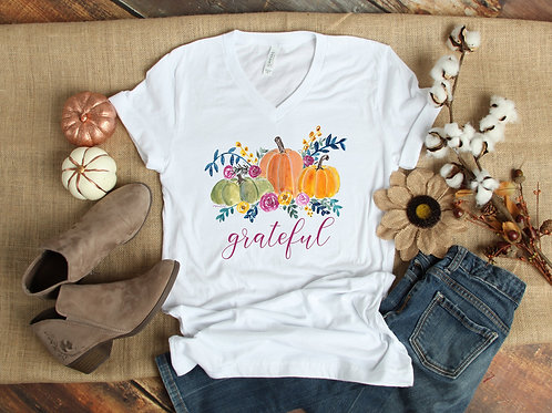 Grateful V Neck Shirt for Thanksgiving