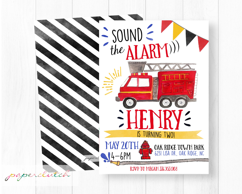 Firetruck Birthday Invitation