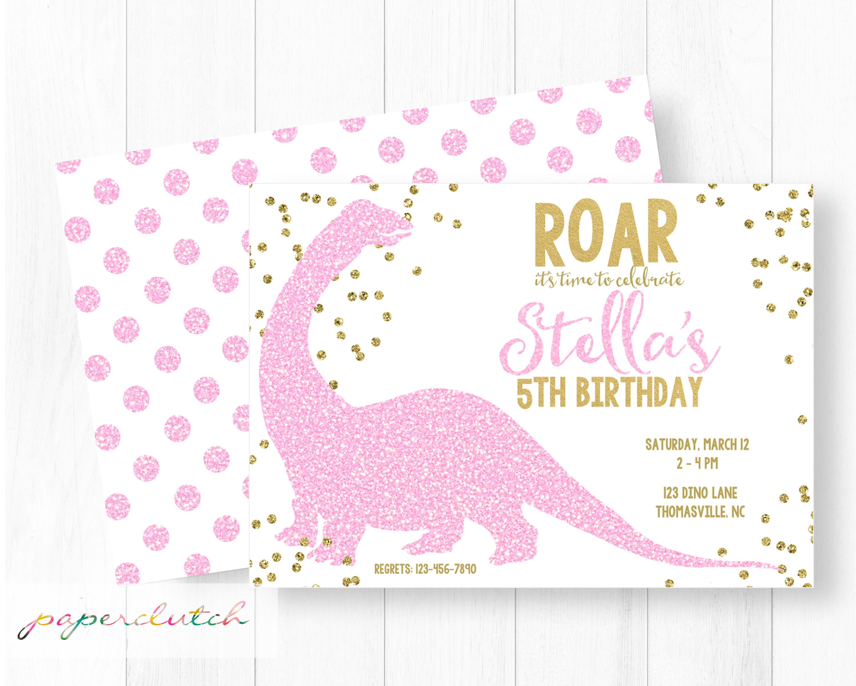 Pink Glitter Dinosaur Invitation