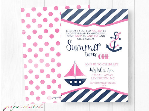 Girl Nautical First Birthday Invitation