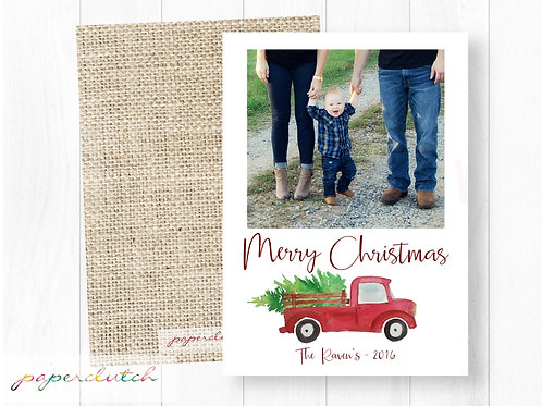 Little Red Truck Christmas Card