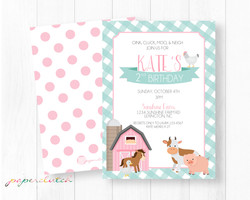 Pink Barn Farm Birthday Invitation