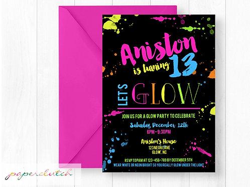 Glow Party Birthday Invitation