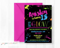 Neon Glow Party Birthday Invite