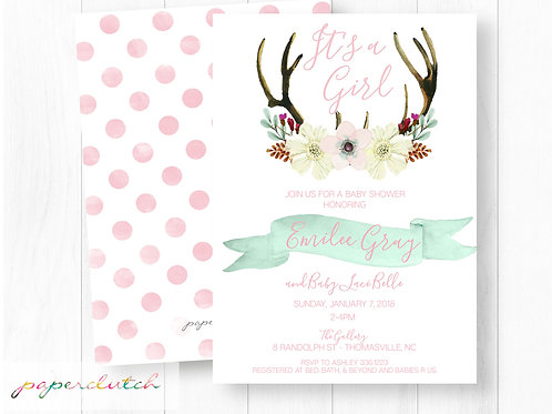 Antler Baby Shower Invitation | Boho Baby Shower Invite