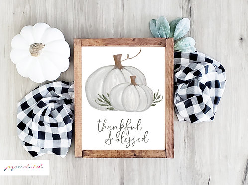 Printed White Pumpkin Art Print