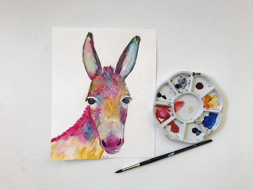 Colorful Donkey Original Watercolor