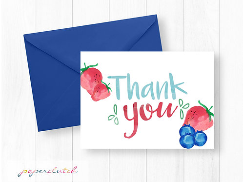 Instant Download Watercolor Berry Thank You Card