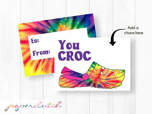 Printable Kids Valentine Cards, Classroom Valentines, Croc Valentine, Croc Charm