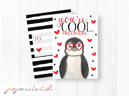 You're Cool Kids Classroom Valentine Penguin
