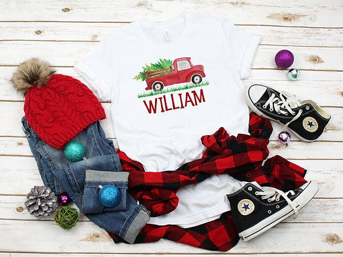 Christmas Tree Truck Boys T Shirt