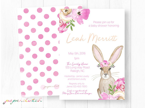 Bunny Baby Shower Invitation | Boho Bunny Invite