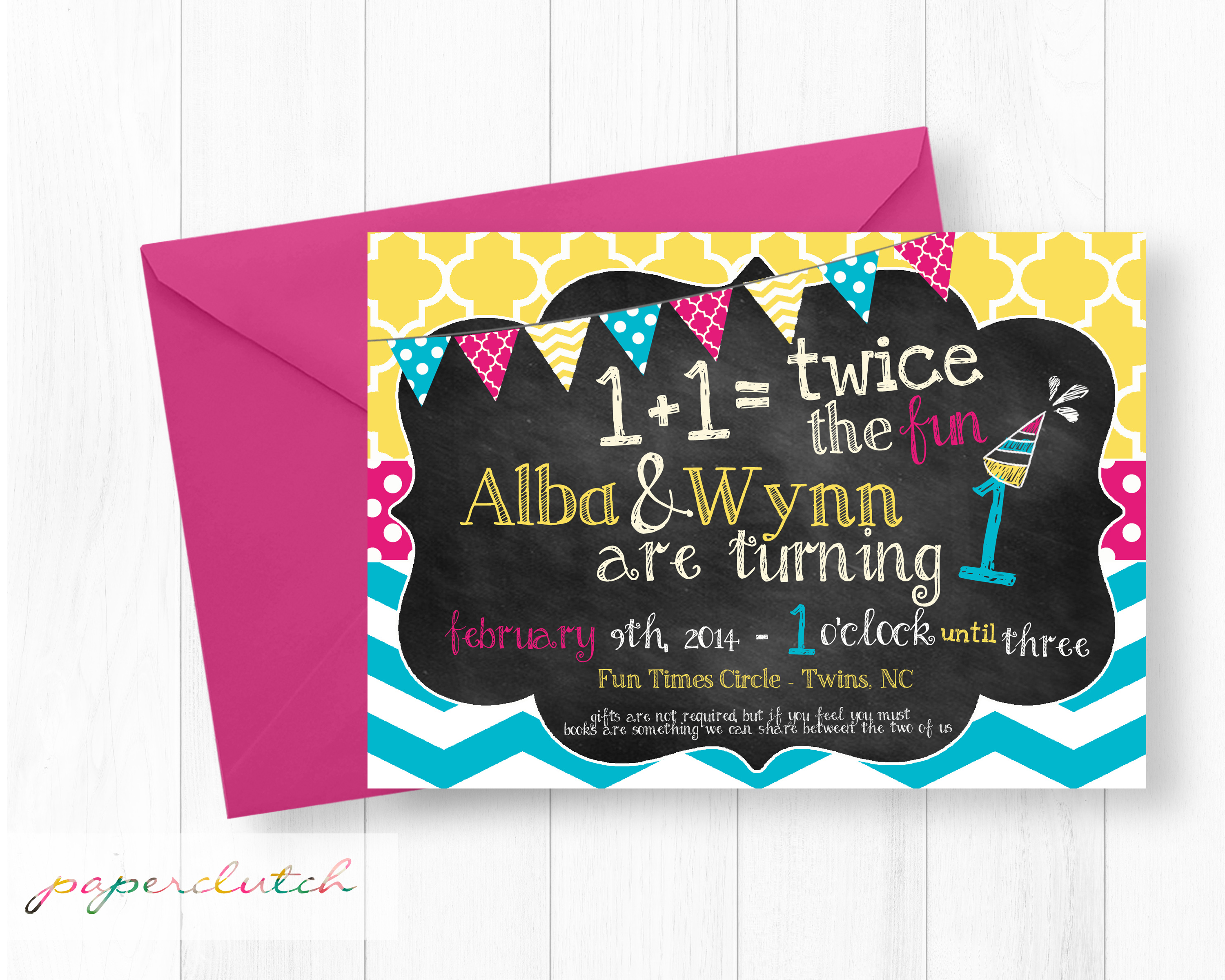Twin Girl First Birthday Invitation