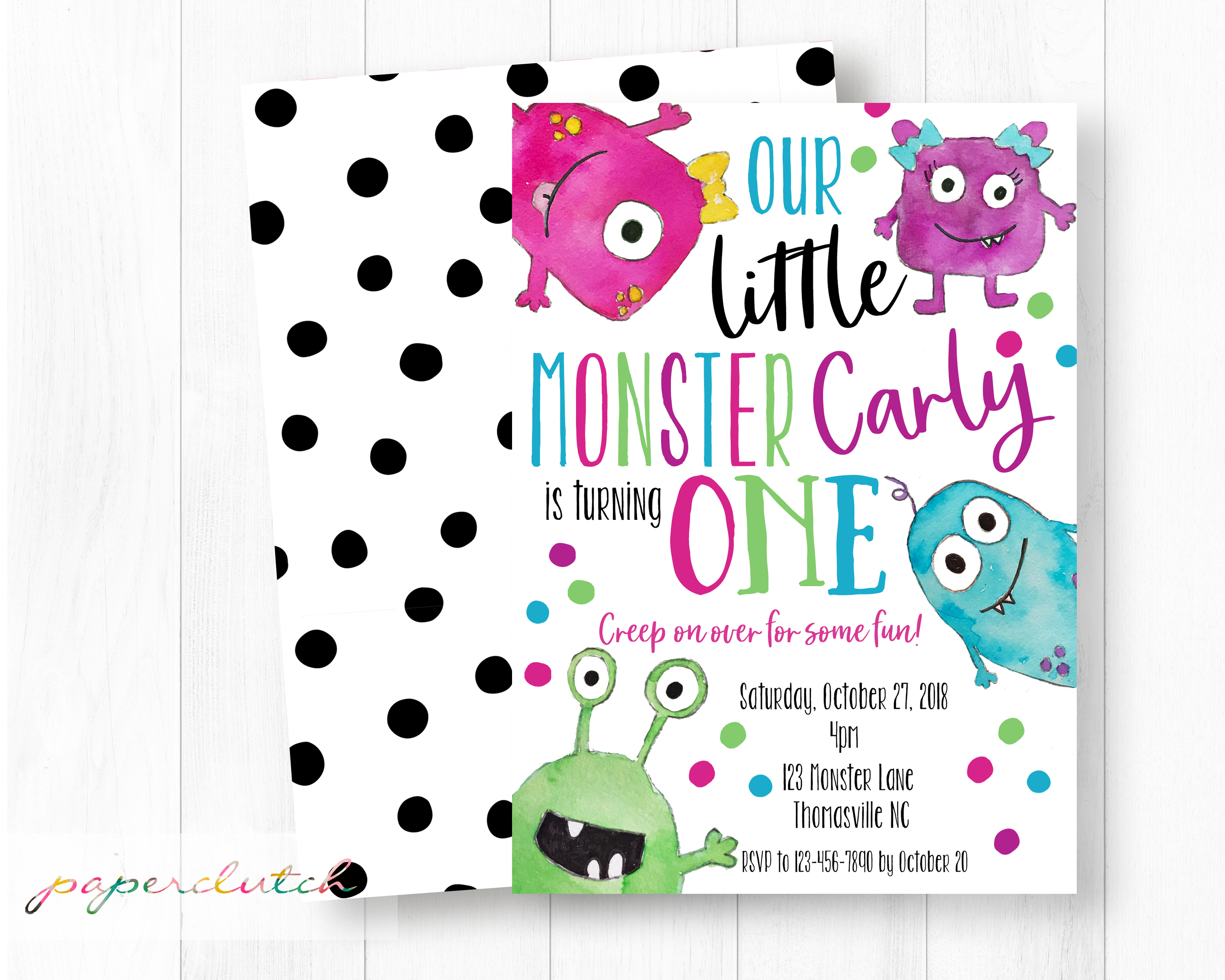 Girl Little Monster Invite