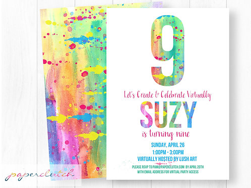 Virtual Art Birthday Party Invitation