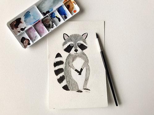 Racoon Original Watercolor