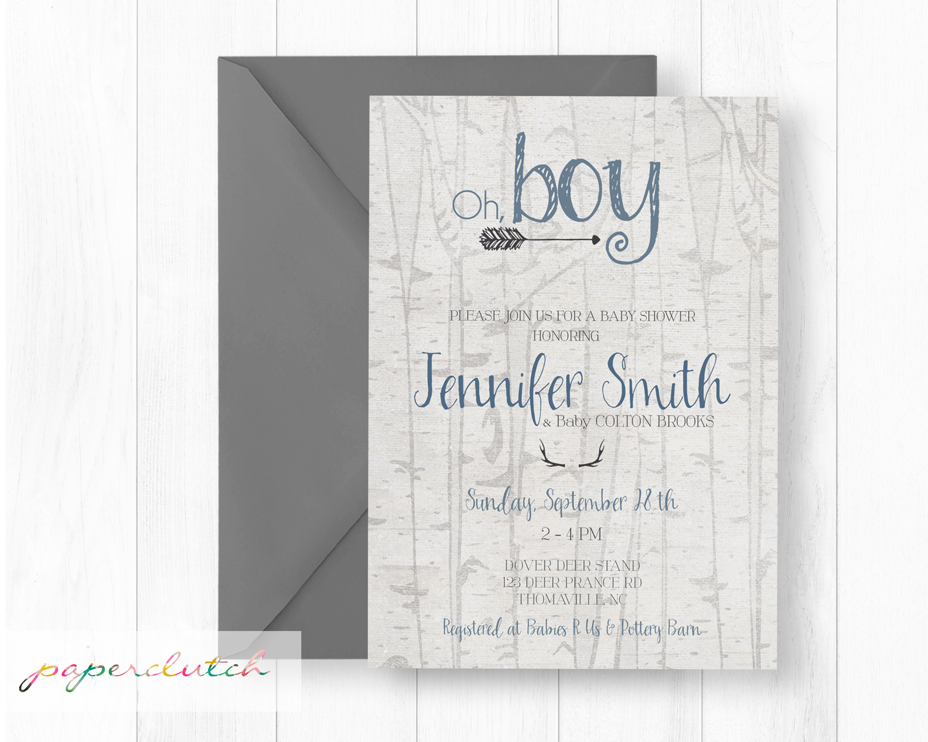 Antler and Arrows Baby Shower Invite