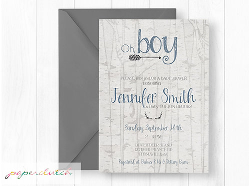 Antler and Arrows Baby Shower Invitation | Oh Boy Southern Baby Shower